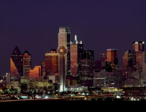 Dallas Texas city view at night